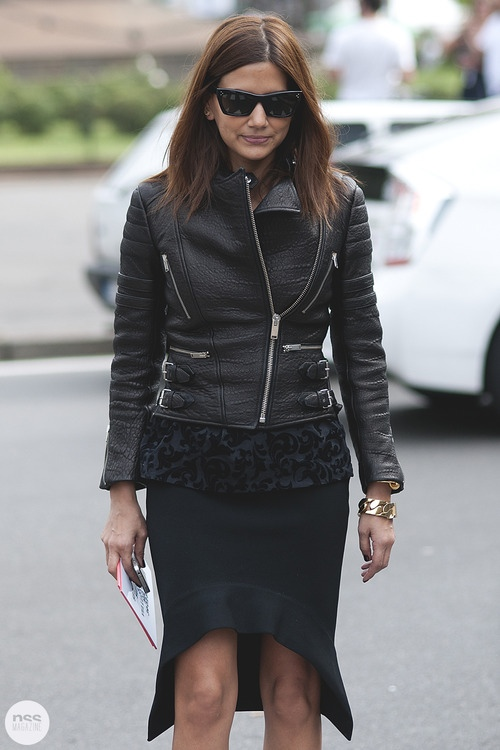 la-modella-mafia-Christine-Centenra-2012-fashion-editor-chic-model-street-style-Spring-2013-Fashion-Week-in-a-Celine-leather-jacket-and-Givenchy-skirt